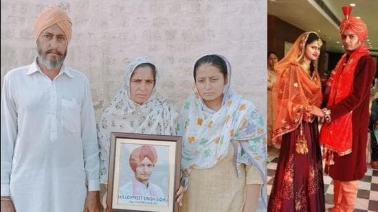 Lovepreet Singh Sidhu's parents and sister seeking justice after his death on June 23 and (right) the youngster with bride Beant Kaur at their wedding in August 2019. (HT file photos)