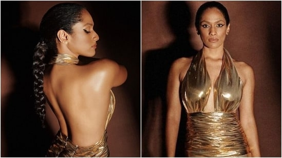 Masaba Gupta in backless halter-neck gold gown is nothing short of a supermodel(Instagram/@masabagupta)