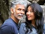 Ankita Konwar and Milind Soman pose together.