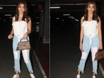 Pooja Hedge slays casual airport look with <span class='webrupee'>₹</span>1.3 lakh Louis Vuitton handbag(Elevate Promotions)