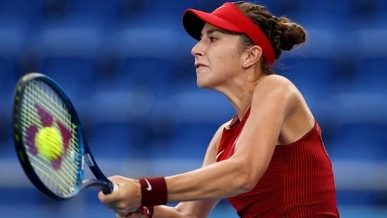 Belinda Bencic of Switzerland in action during her semifinal match against Elena Rybakina of Kazakhstan(REUTERS)