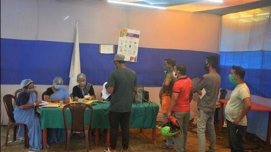 People register for Covid vaccination at a primary health centre in Siliguri. (File photo)