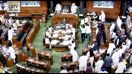 Opposition leaders stage a protest in the Lok Sabha during the monsoon session of Parliament, in New Delhi on Wednesday. (ANI)
