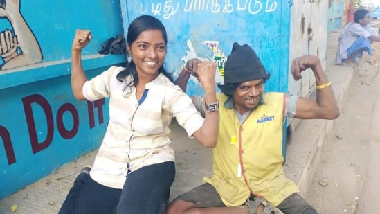 The image shows Manisha Krishnasamy with a person she is helping.(Life Beyond Numbers)