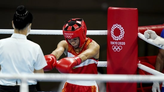 Indian boxer Mary Kom in action at the 2020 Summer Olympics.