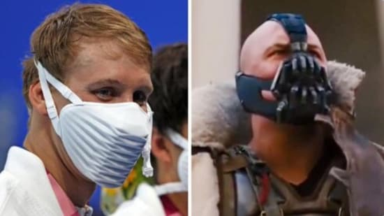 The video shows a meme shared by a Twitter user comparing a mask with one worn by the character Bane from Batman: The Dark Knight Rises.(Screengrab)