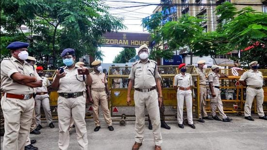Assam security personnel stand vigil outside Mizoram House in Guwahati on Thursday. (PTI)