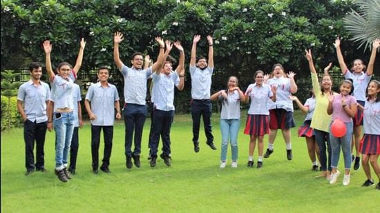 Students of GD Goenka Public School in Lucknow, Uttar Pradesh, celebrating their success in the CBSE class 12 results. (SOURCED IMAGE)