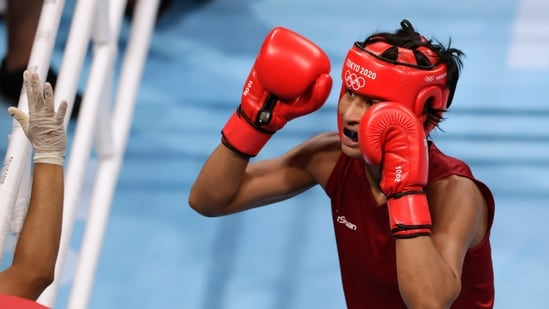 Tokyo 2020 Olympics: Lovlina Borgohain of India reacts during the fight against Chen Nien-Chin of Taiwan. (REUTERS)