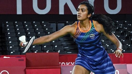 India's PV Sindhu plays against Japan's Akane Yamaguchi at the Tokyo Olympics 2020(PTI)