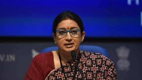 """For the first time, Union minister Smriti Irani said, the government is looking at """"trafficking in its entirety as an organised crime"""".(HT file)"""