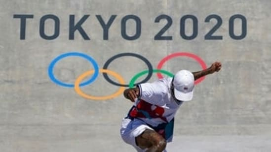 Nyjah Huston, of the United States, competes in men's street skateboarding during the Tokyo Olympics.(AP)