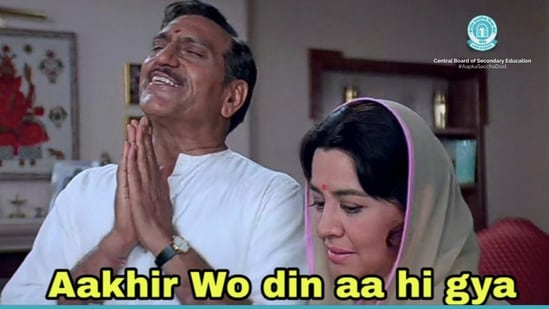 The image shows the DDLJ meme shared by CBSE to announce about Class 12 results.(Twitter/@cbseindia29)