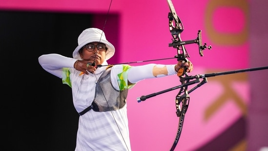 India's Deepika Kumari entered the quarterfinals in women's individual archery competition after a thrilling shoot-off win over ROC's Ksenia Perova,(PTI)