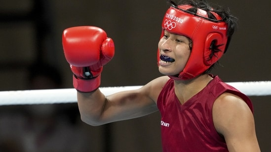 India's Lovlina Borgohain clenches her fist after winning her bout at Tokyo Olympics 2020(PTI)
