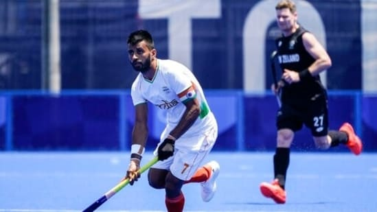 India's Manpreet Singh looks to pass during a men's field hockey match against New Zealand: File photo(AP)