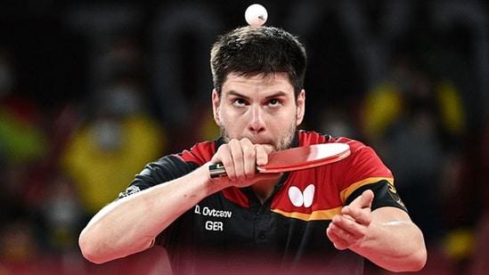 Germany's Dimitrij Ovtcharov serves. (Getty Images)