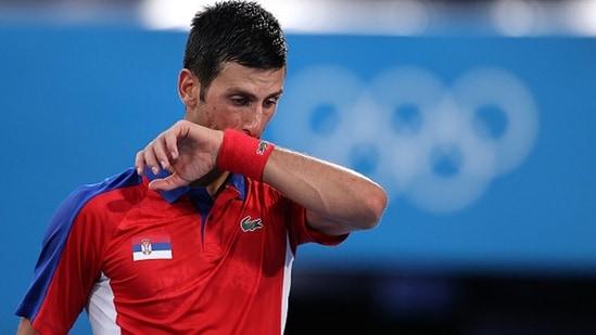 Novak Djokovic reacts during the men's singles semifinal match against Alexander Zverev. (Getty Images)