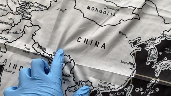 The maps being exported as 'bed covers' were seized at Shanghai Pudong international airport during a routine check. (The Paper.com/Shanghai Customs)