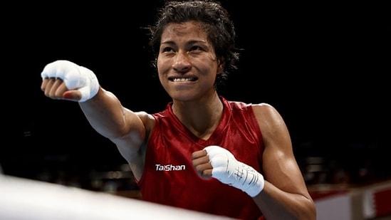 Lovlina Borgohain of India celebrates her victory. (Getty Images)