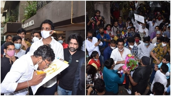 Almost a hundred fans of Sonu Sood were spotted at his home in Mumbai.