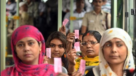 At 80%, the share of women passengers was high even in March. (Photo by Raj K Raj/ Hindustan Times) (Raj K Raj/HT PHOTO)