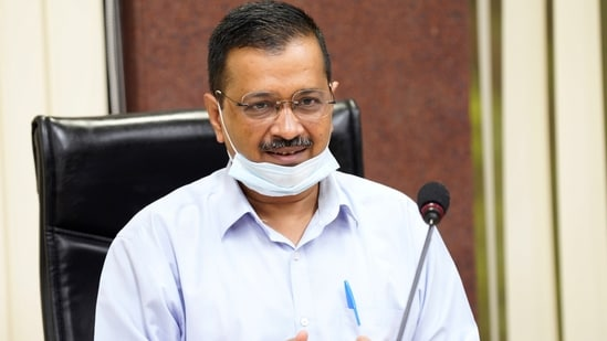 Delhi chief minister Arvind Kejriwal announced achieving the vaccination numbers at a press conference on Saturday.(ANI File Photo)