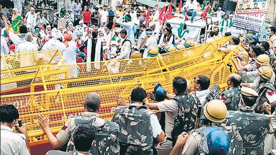 Farmers protesting the three new laws in Rohtak on July 13. (Manoj Dhaka/HT Photo)