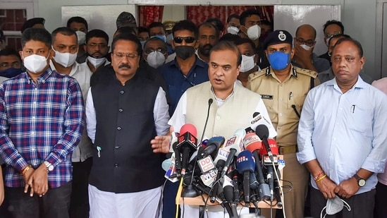 Assam chief minister Himanta Biswa Sarma interacts with media after visiting the police personnel injured in a clash at Assam-Mizoram border, at Silchar Medical College & Hospital.(PTI Photo)