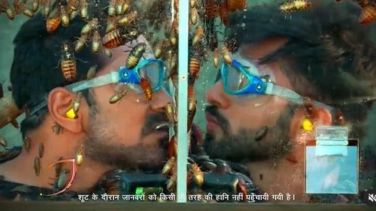 Rahul Vaidya and Abhinav Shukla during a Khatron Ke Khiladi 11 stunt.