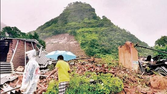 Landslide at Taliye village near Mahad led to some houses covered with the soil that came with the portion of hillock coming down in Mahad, India, on Friday, July 23, 2021. (Hindustan Times)