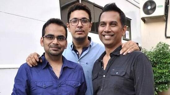 Dinesh Vijan with Raj Nidimoru and Krishna DK.