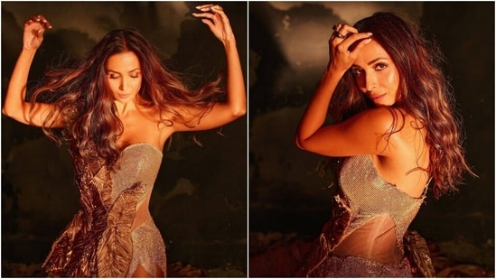 Malaika Arora in one-shoulder gold gown with thigh-baring slit is a fashion goddess(Instagram/@manekaharisinghani)