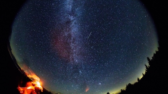 A meteor streaks across the sky during the annual Perseid meteor shower in Spruce Knob, West Virginia.(Nasa/Bill Ingalls)