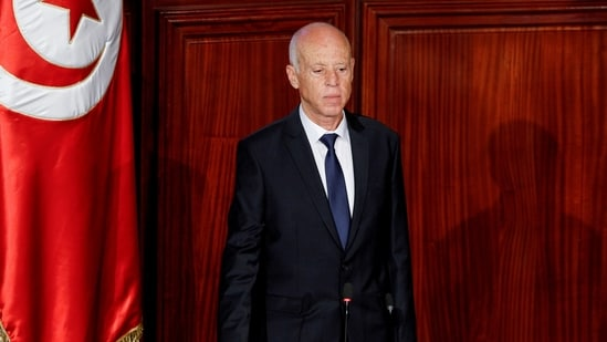 Tunisian president Kais Saied takes the oath of office in Tunis, Tunisia, on October 23, 2019. (REUTERS)