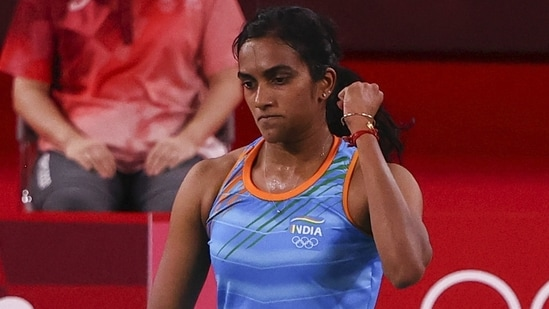 PV Sindhu of India reacts during the bronze medal match against He Bingjiao of China at the Tokyo Olympics.(REUTERS)