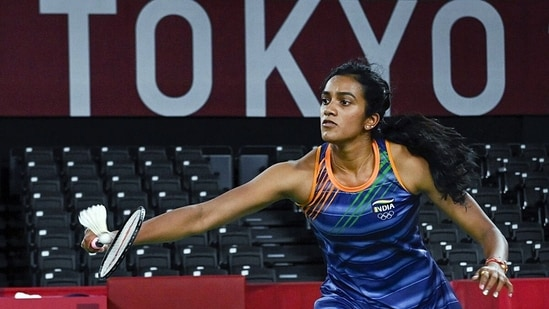 India's PV Sindhu during thei women's singles badminton quarterfinal match, at the Tokyo Olympics 2020, (ANI Photo)