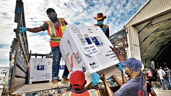 Boxes of Covid-19 vaccines, manufactured in India, arrive at the airport in Mogadishu, Somalia, in March. AP