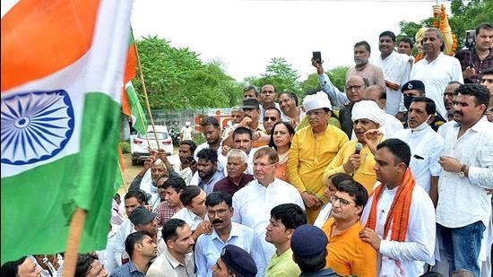 BJP kicks off Tiranga Yatra from Bhiwani's Behal on Sunday. (HT PHOTO)