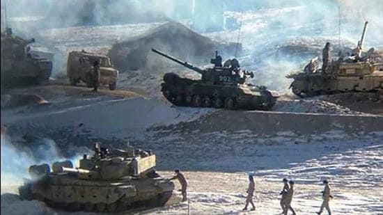 This undated handout photograph released by the Indian Army on February 16, 2021, shows People's Liberation Army (PLA) soldiers and tanks during military disengagement along the Line of Actual Control (LAC) at the India-China border in Ladakh. (Photo by MINISTRY OF DEFENCE)