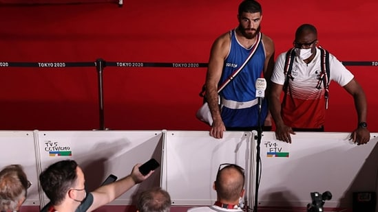 Mourad Aliev of France after losing by disqualification against Frazer Clarke. (Getty Images)