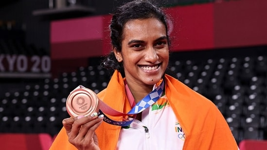 PV Sindhu of India with her bronze medal during the medal. (Getty Images)