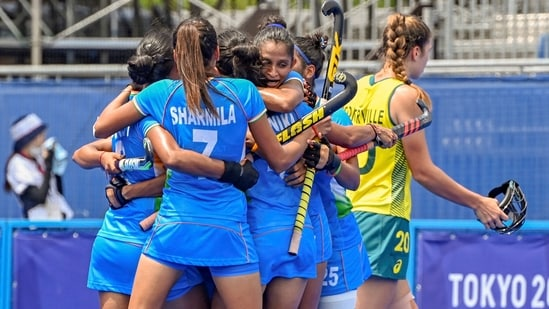 Tokyo: India's players celebrate after scoring a goal during women's field hockey quarterfinal match against Australia at the 2020 Summer Olympics, in Tokyo, Monday, Aug. 2, 2021. Gurjit Kaur scored the goal.(PTI)