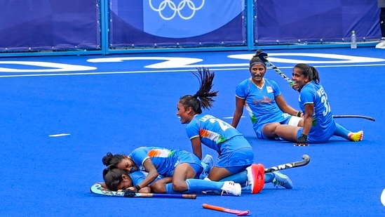 Tokyo: Indian players celebrate their victory against Australia during women's field hockey quarterfinal match at the 2020 Summer Olympics, in Tokyo, Monday, Aug. 2, 2021. India won 1-0, thus entering first-ever women's hockey Olympic semifinal.(PTI)