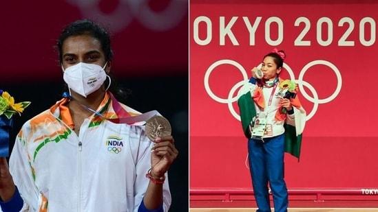 Tokyo Olympics medallists PV Sindhu (L) and Mirabai Chanu (R)(HT Collage)