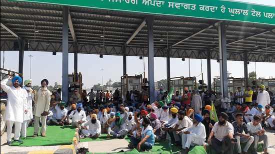 Farmers protesting at a toll plaza in Punjab.