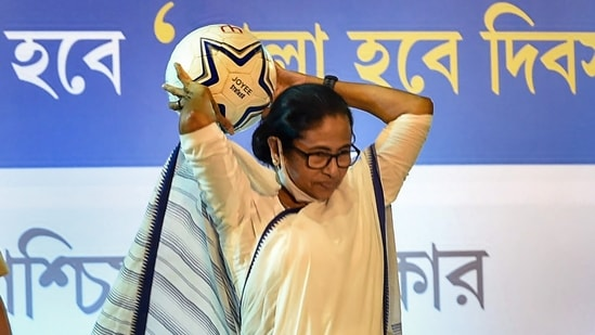 During the event, the TMC chief Mamata Banerjee also said that as many as one lakh footballs would be distributed among the sporting clubs in various districts of West Bengal. (PTI Photo)