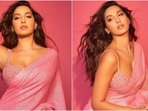 Nora Fatehi in pink sequin saree and bralette will make your heart skip a beat(Instagram/@manekaharisinghani)