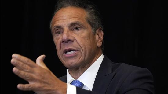 A file photo of New York governor Andrew Cuomo at New York's Yankee Stadium on July 26, 2021. (AP)