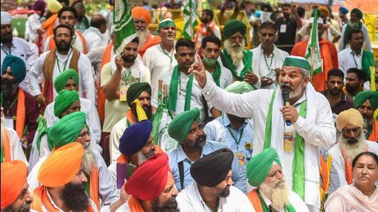Bharatiya Kisan Union leader Rakesh Tikait addresses farmers. (PTI)